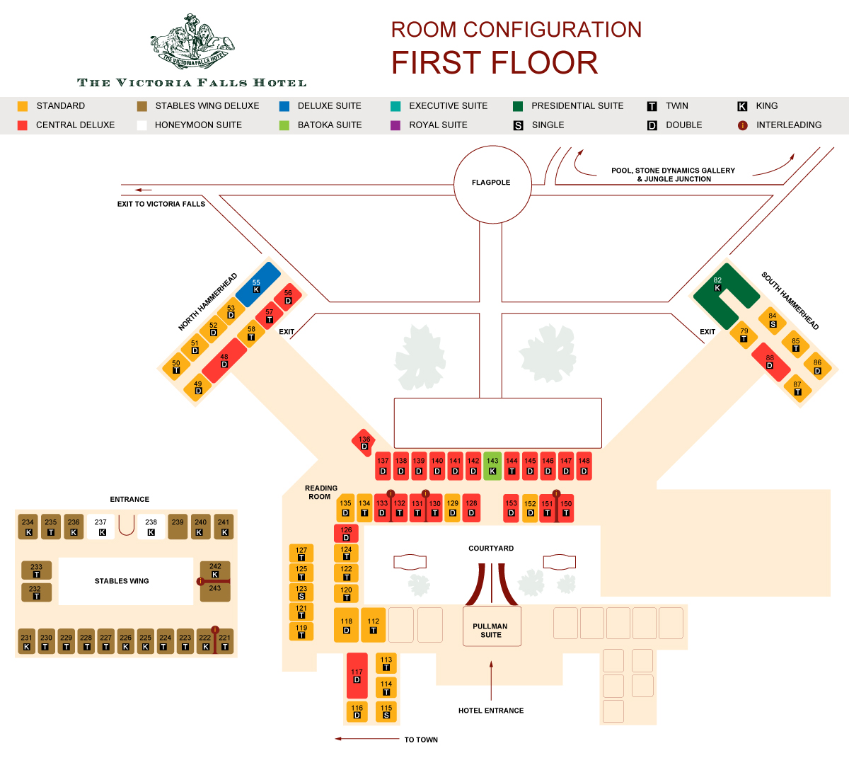 Victoria Falls Hotel first floor layout